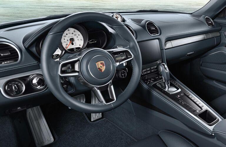 2019 Porsche 718 Cayman interior front cabin steering wheel and dashboard