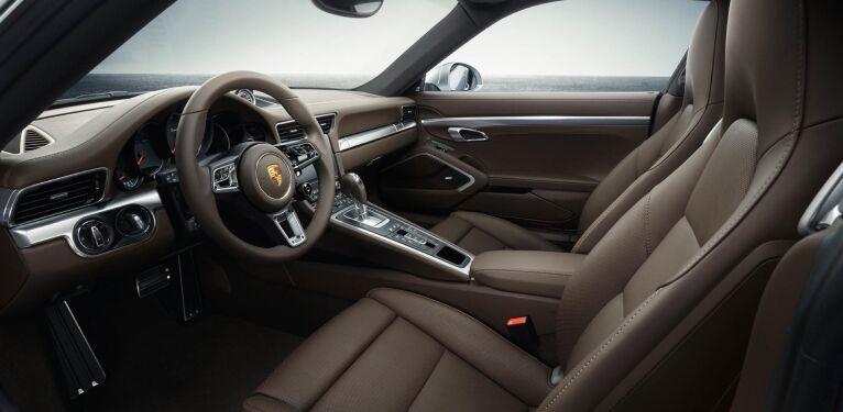The spacious interior of the 2019 Porsche 911 Turbo