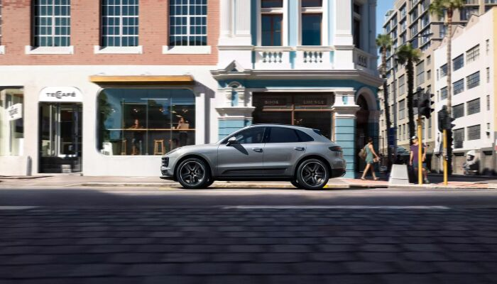 2019 Porsche Macan exterior drivers side profile parked on side of town road
