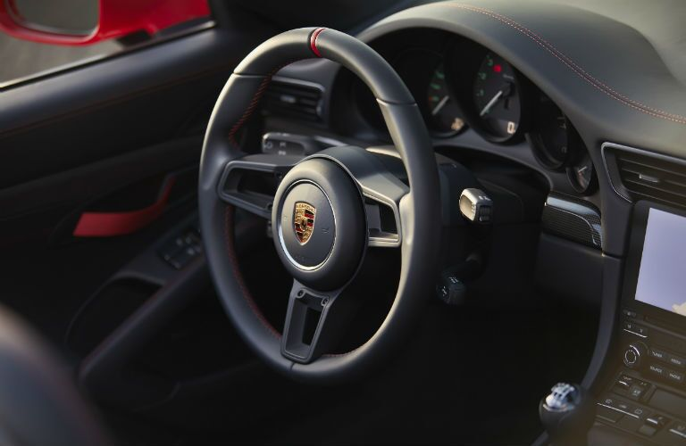2019 Porsche 911 Speedster interior front cabin close up of steering wheel