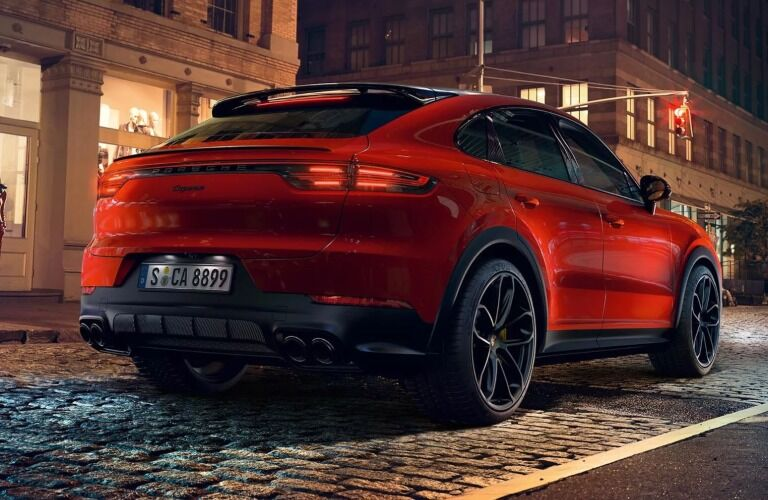 Rear view of a red 2019 Porsche Cayenne Coupe