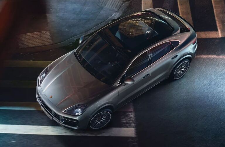 Overhead view of a silver 2019 Porsche Cayenne Coupe