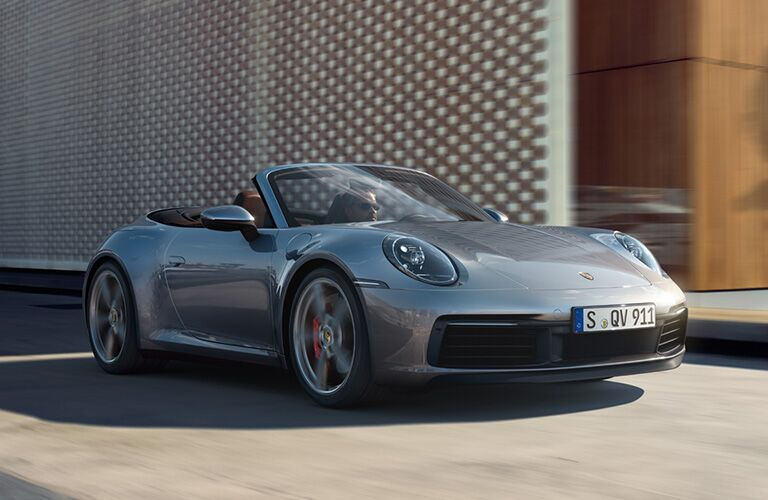 2020 Porsche 911 exterior front fascia and drivers side with hood down