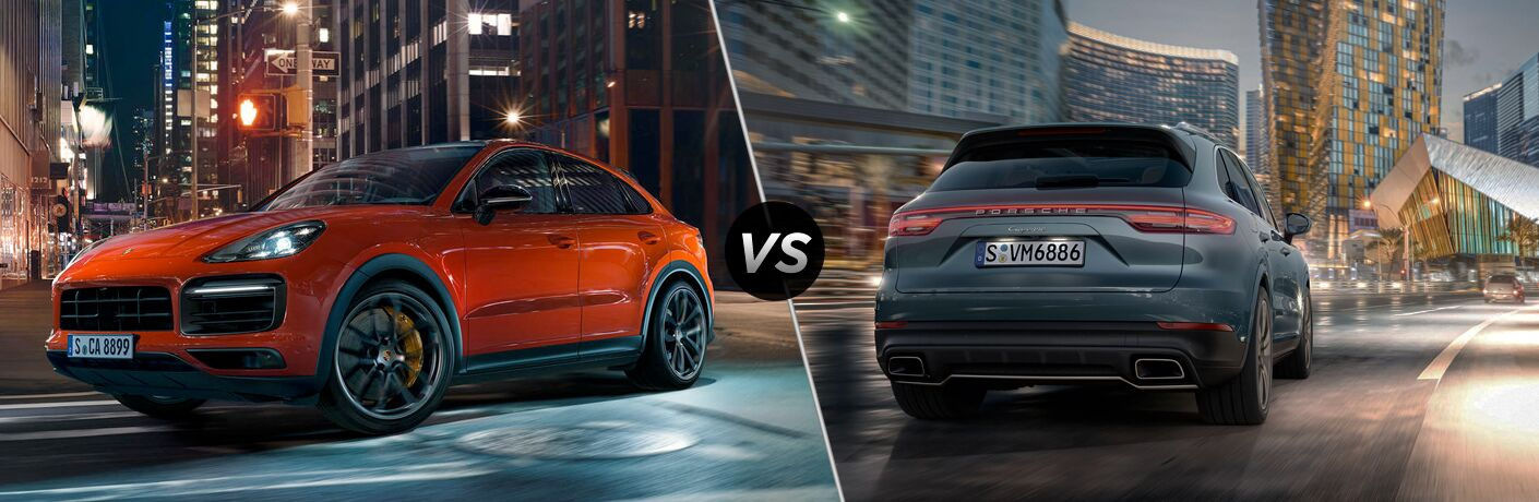 2020 Porsche Cayenne Coupe exterior front fascia and drivers side in city vs 2019 Porsche Cayenne exterior back fascia and passenger side going fast on city roads