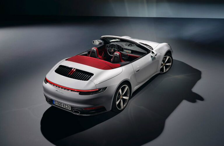 Rear overhead view of a white 2020 Porsche 911 Carrera Cabriolet