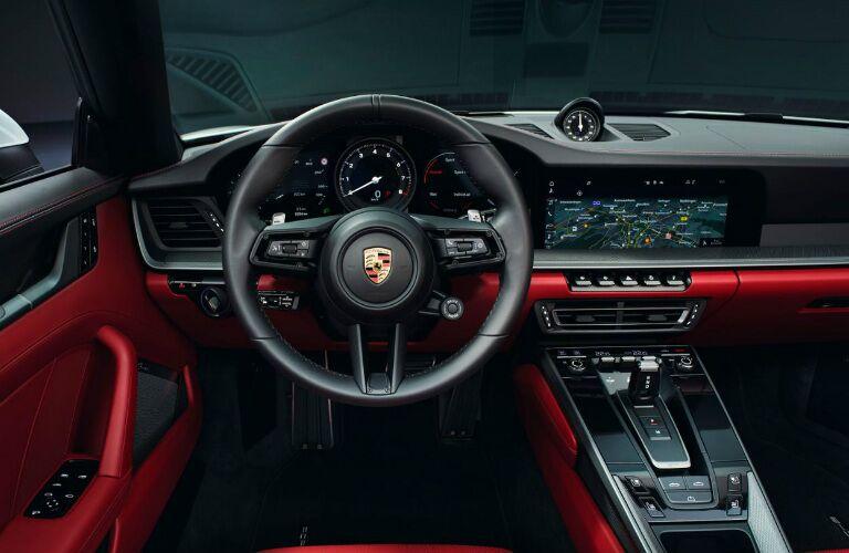 Cockpit view in the white 2020 Porsche 911 Carrera Cabriolet