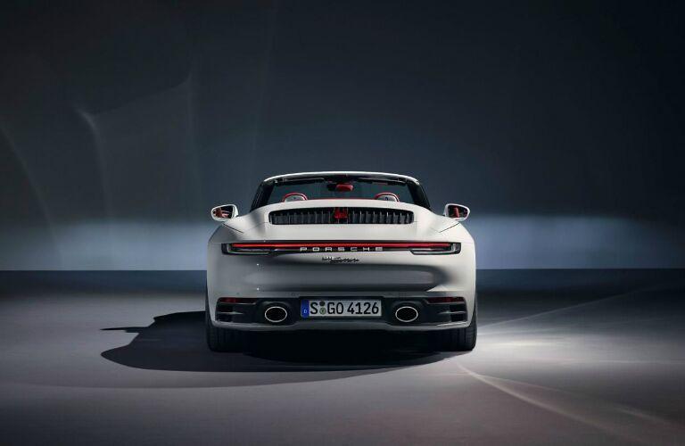 Rear view of a white 2020 Porsche 911 Carrera Cabriolet