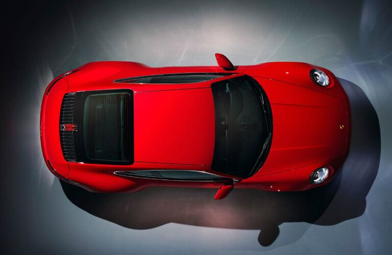 Overhead view of a red 2020 Porsche 911 Carrera Coupe