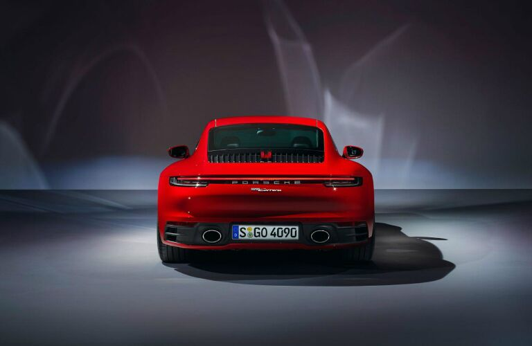 Rear view of a red 2020 Porsche 911 Carrera Coupe