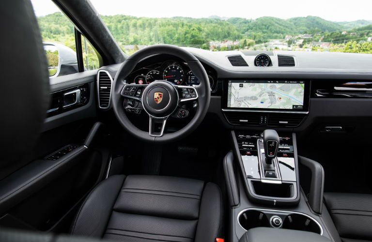2020 Porsche Cayenne Coupe interior front cabin steering wheel display screen and dashboard