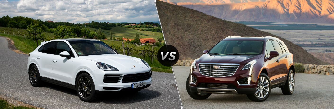 2020 Porsche Cayenne Coupe exterior front fascia and passenger side on country highway vs 2019 Cadillac XT5 exterior front fascia and driver side