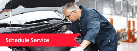 "Mechanic leaning over car with red ""schedule service"" banner to the left"