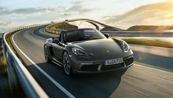 Porsche 718 Boxster on the road
