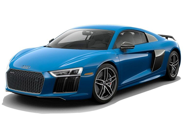 Front view of blue 2017 Audi R8