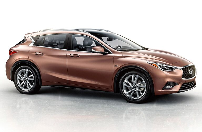 Side view of copper-colored 2017 INFINITI QX30
