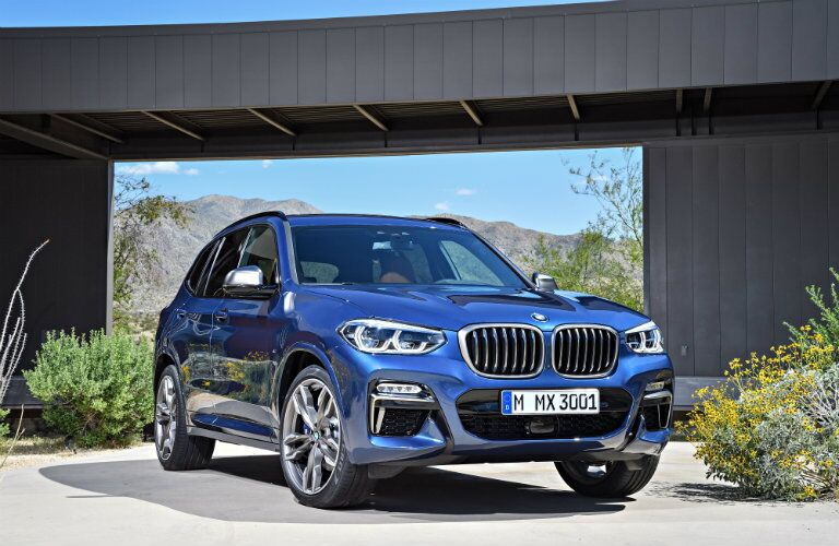 Front View of Blue 2018 BMW X3