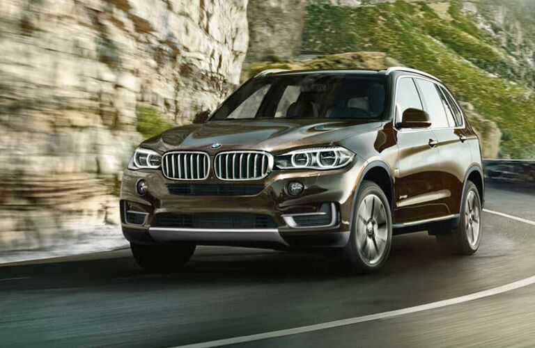 Brown 2018 BMW X5 Driving on a Mountain Road