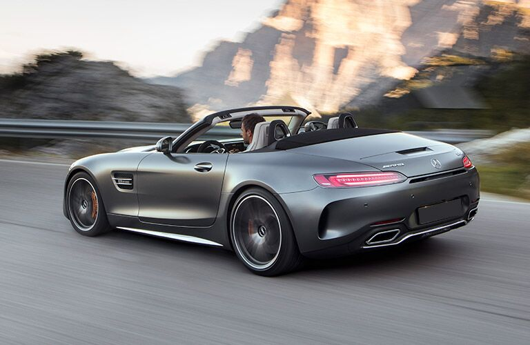 Grey 2018 Mercedes-AMG GT C with mountains in the background