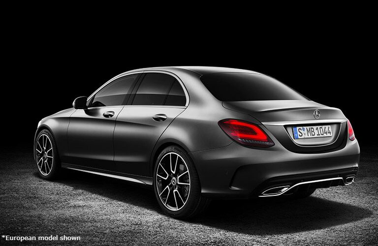2019 Mercedes-Benz C-Class rear side angled view of the exterior