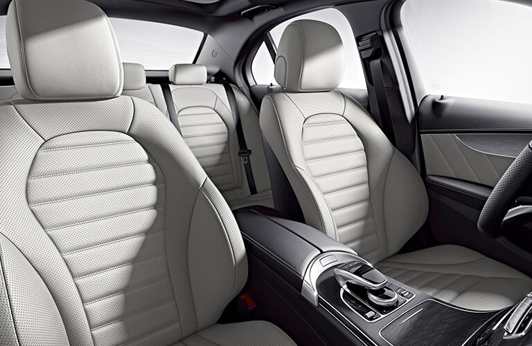2019 Mercedes-Benz C-Class interior view with white seats