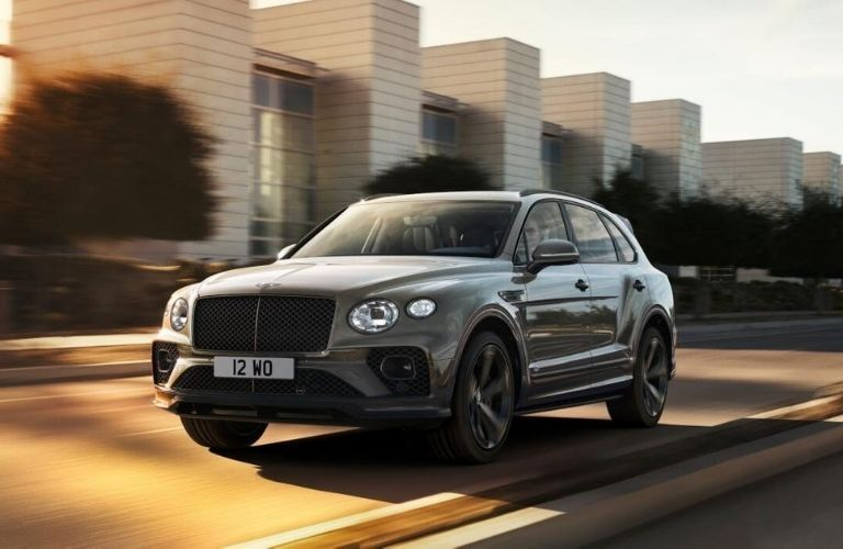 Exterior view of the front of a gray Bentley Bentayga