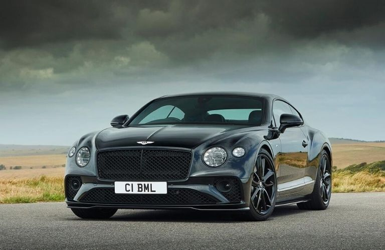 Exterior view of the front of a black 2020 Bentley Continental