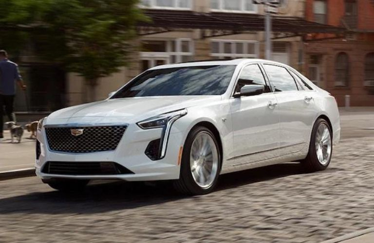 Exterior view of a white 2020 Cadillac CT6