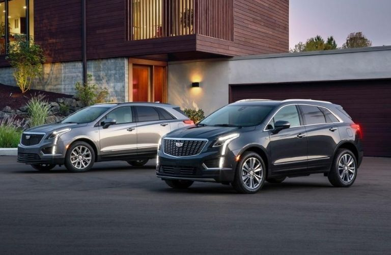 Exterior view of two 2020 Cadillac SUV models