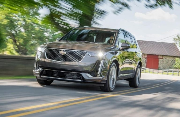 Exterior view of a gray 2021 Cadillac XT6