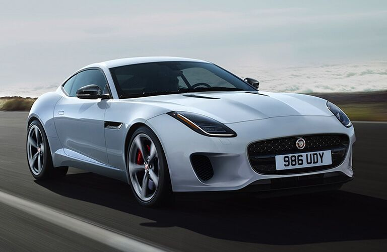 2020 Jaguar F-Type white front side view