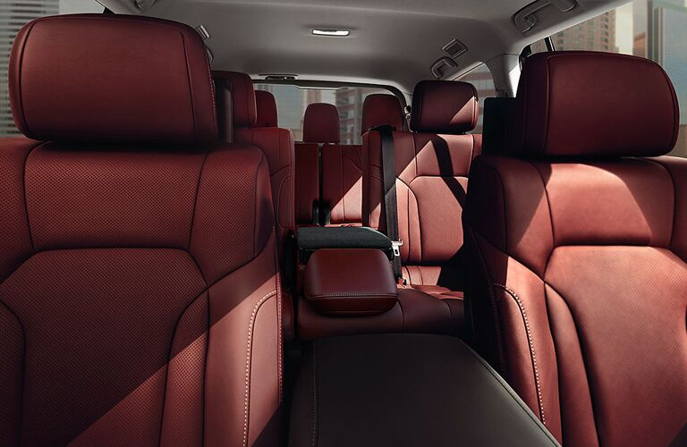 2020 Lexus LX interior shot of seating rows with red leather upholstery