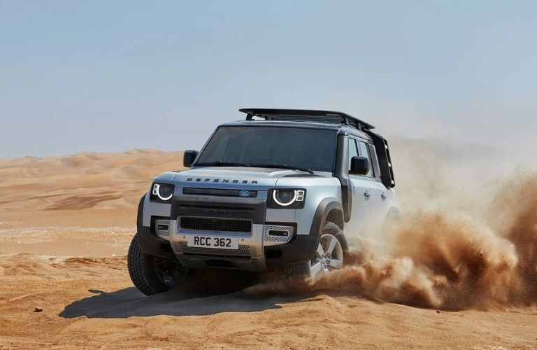 Exterior view of the front of a silver 2021 Land Rover Defender