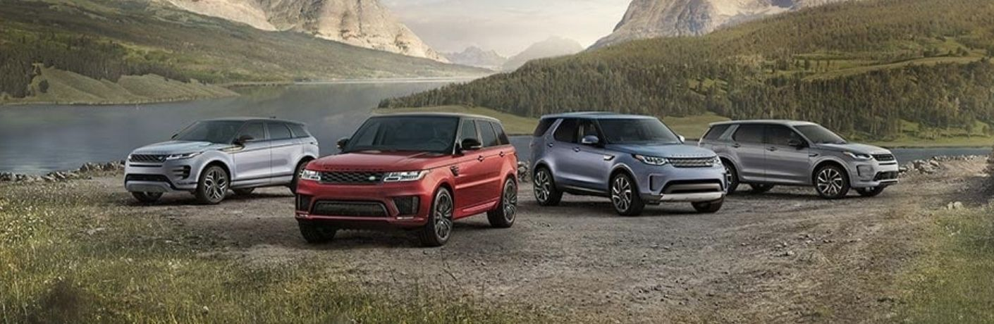 Exterior view of four 2021 Land Rover models