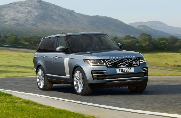 Exterior view of the front of a grayish-blue 2021 Land Rover Range Rover