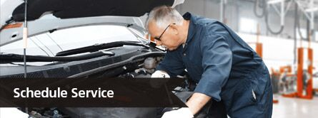 Schedule Service Title and a Technician Working on a Car