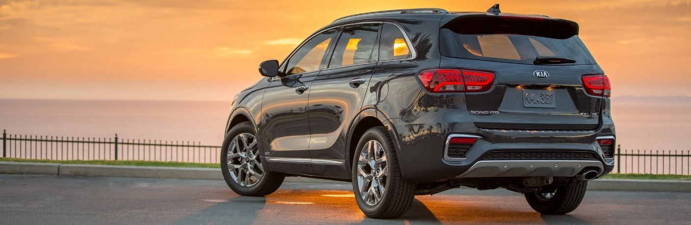 2020 Kia Sorento parked in front of sunset from exterior passenger rear
