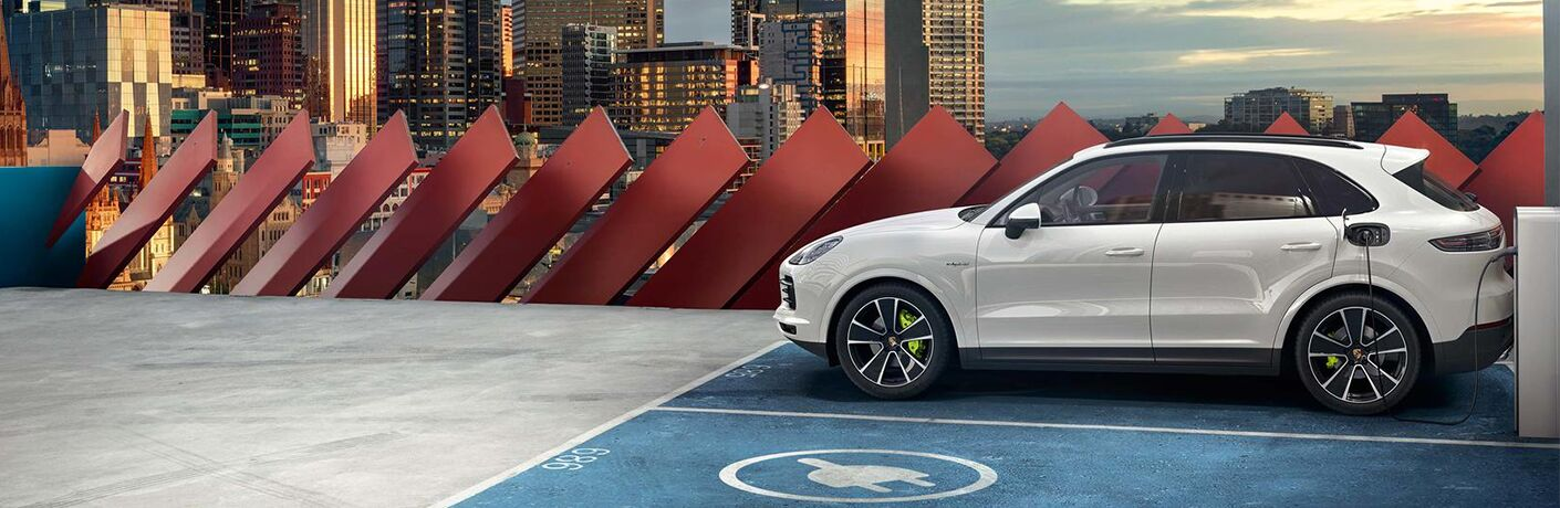 2020 Porsche Cayenne parked on a rooftop parking stall
