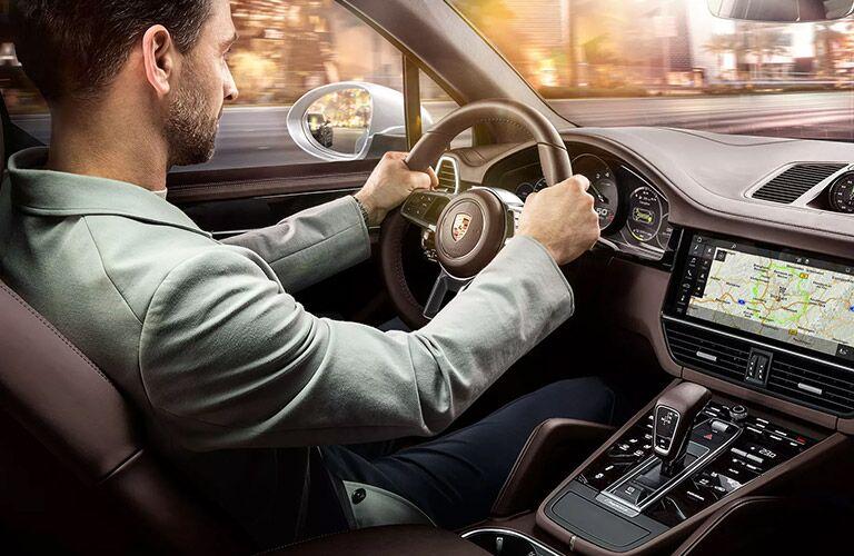 2020 Porsche Cayenne with man driving