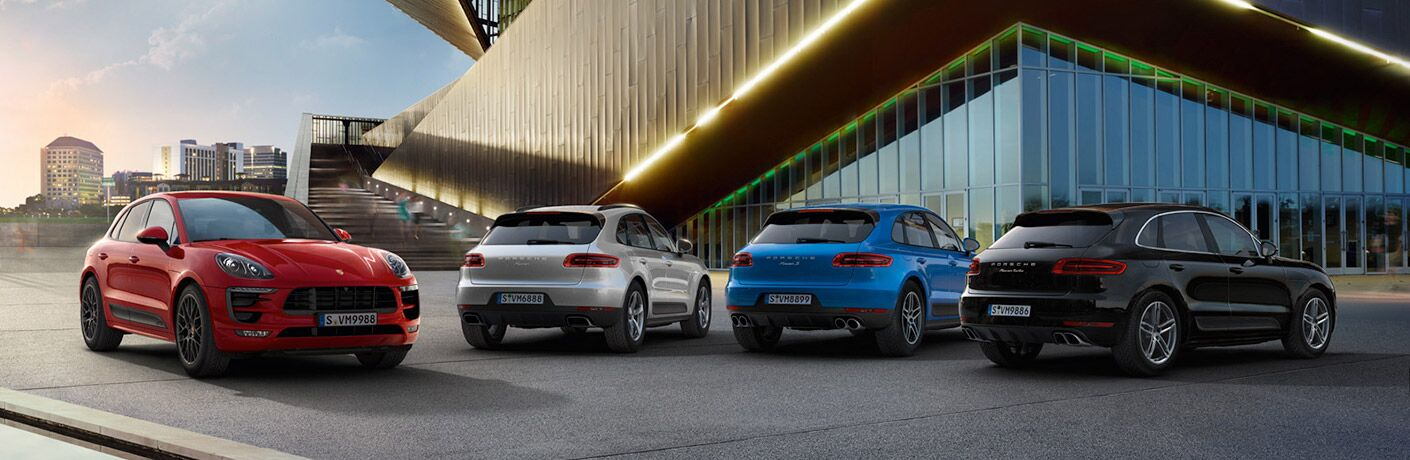 2018 Porsche Macan lineup outside of a building