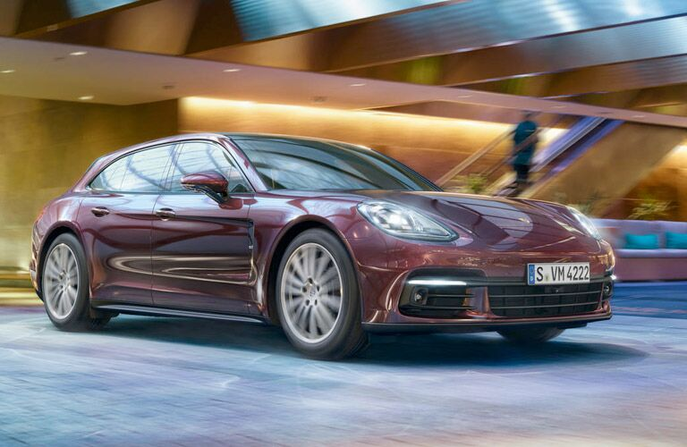 2018 Porsche Panamera driving through a parking garage