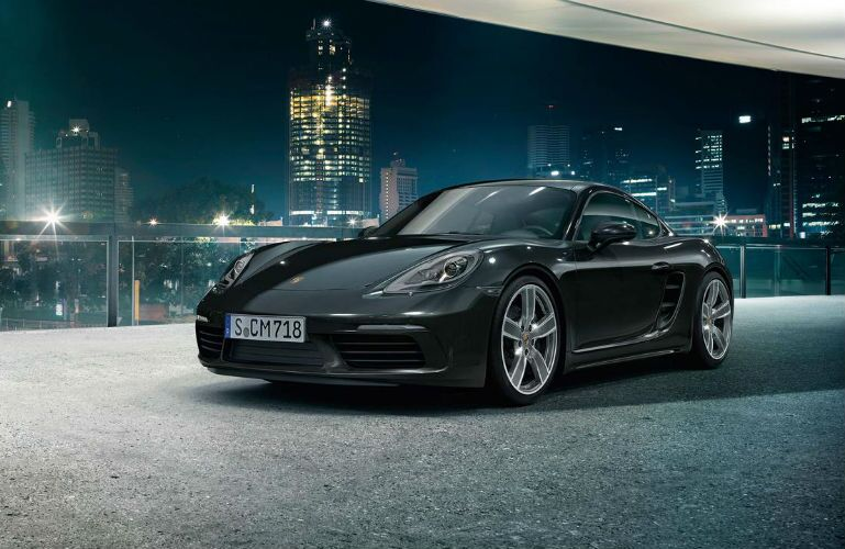 2018 Porsche 718 Cayman parked at night