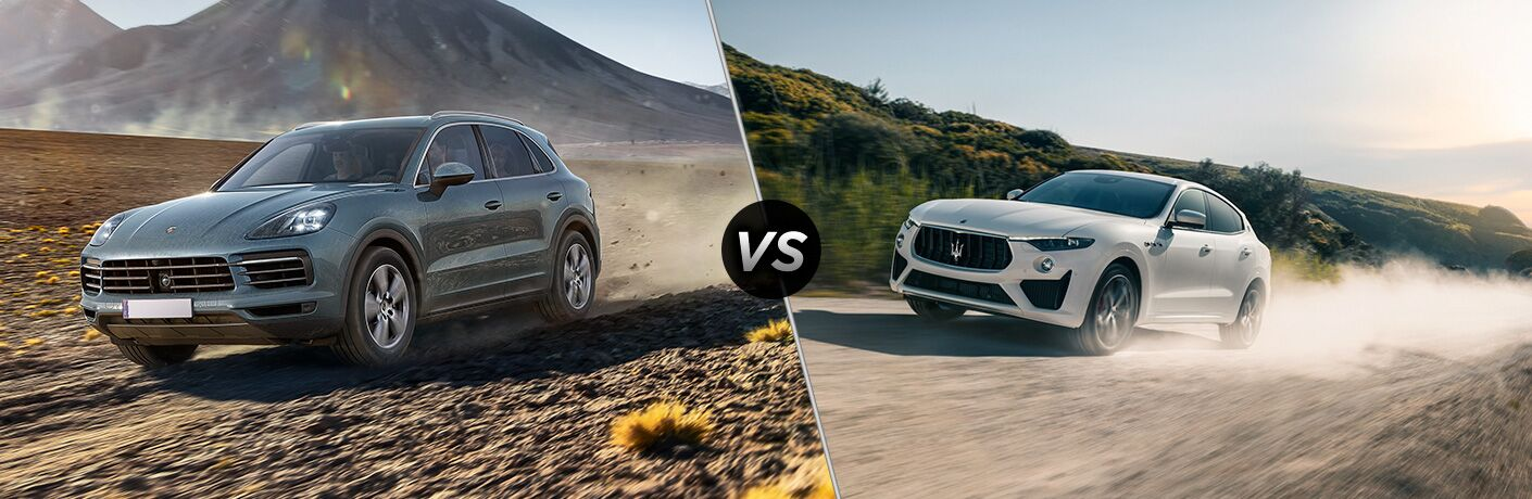 Front driver angle of a blue 2019 Porsche Cayenne on left VS front driver angle of a white 2019 Maserati Levante on right