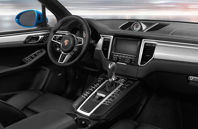 2019 Porsche Macan interior front cabin steering wheel and dashboard