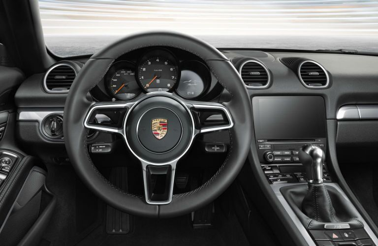 2019 Porsche 718 Boxster center console and sport steering wheel
