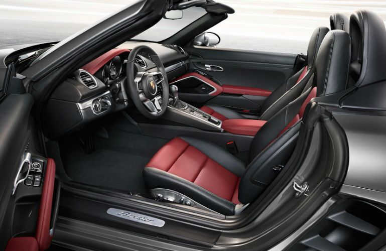2019 Porsche 718 Boxster looking into the interior from open driver's door