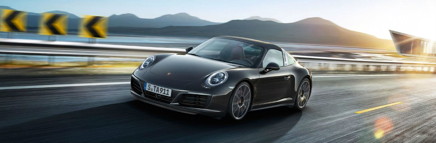 2019 Porsche 911 Targa 4 driving on a ramp