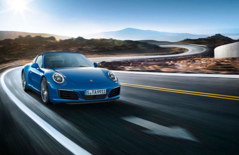 2019 Porsche 911 Targa 4 driving on a rural road