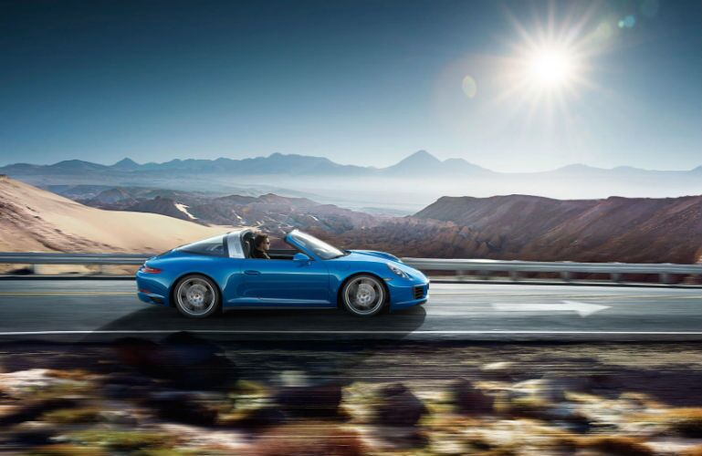 2019 Porsche 911 Targa 4 driving near a canyon