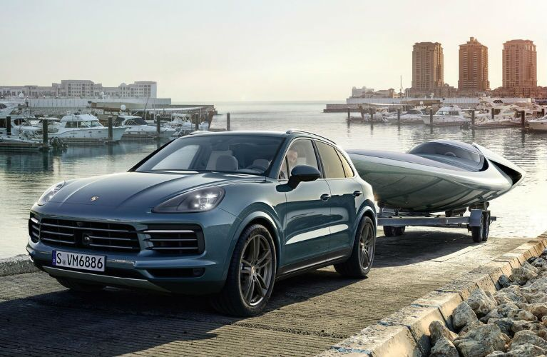 2019 Porsche Cayenne lowering in a boat into water