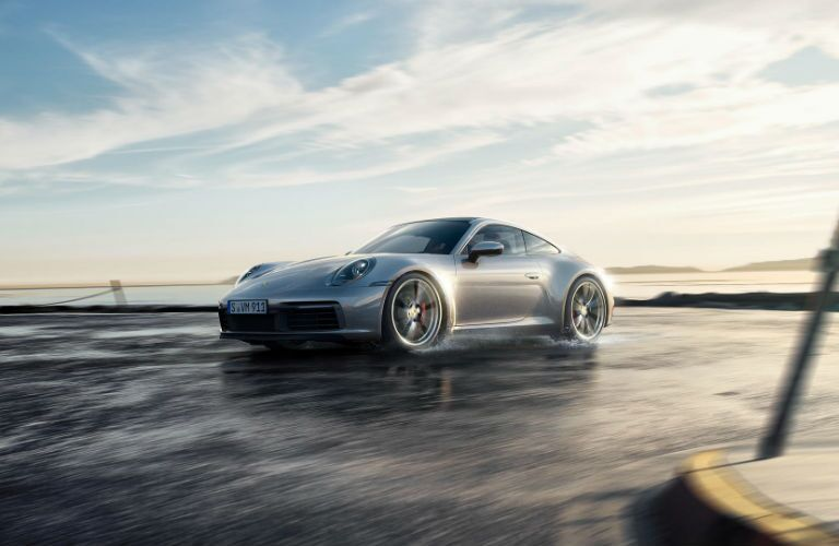 2019 Porsche 911 Carrera skidding on water